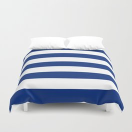 Catalina blue - solid color - white stripes pattern Duvet Cover