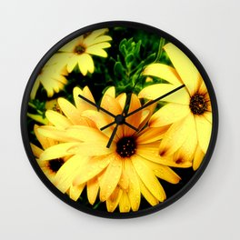 Happy Yellow Flowers Wall Clock