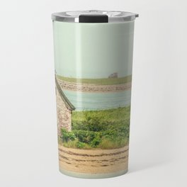 Little Beach House with Seagull Atop Travel Mug