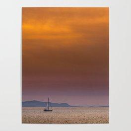 Yacht sailing towards Catalina Island Poster