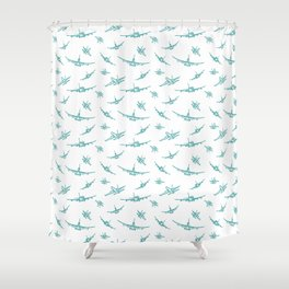 Teal Airplanes Shower Curtain