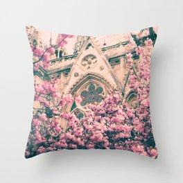 Paris, Notre dame details and cherry blossoms Throw Pillow