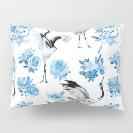 watercolor pattern with cranes and flowers of roses, lilies and lotuses Pillow Sham