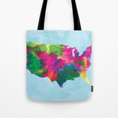 Watercolor U.S.A. Map Tote Bag