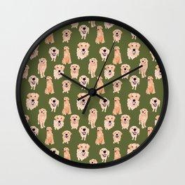 Golden Retriever on Green Wall Clock
