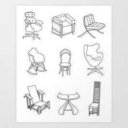A gaggle of chairs Art Print