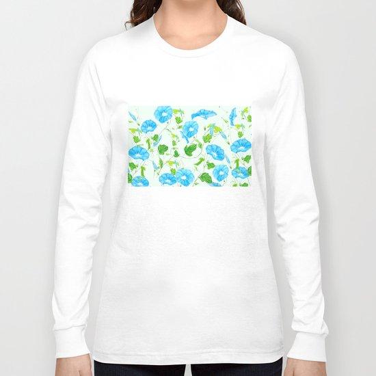 blue morning glory pattern Long Sleeve T-shirt