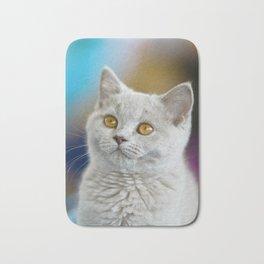 Young British Shorthair cat Bath Mat