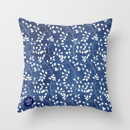 Inky Duvet Cover Leaf Pattern 9 Throw Pillow