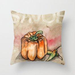 Savor (Pepper) Throw Pillow