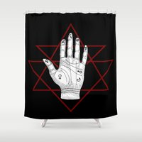 astronomy Shower Curtains featuring Astronomy Palm by alesaenzart