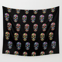 skulls Wall Tapestries featuring skulls by Nastya Bo