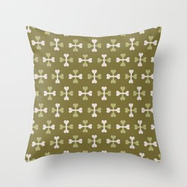 Bone surface pattern (green-white) Throw Pillow