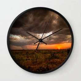 West Texas Sunset - Colorful Landscape After Storms Wall Clock