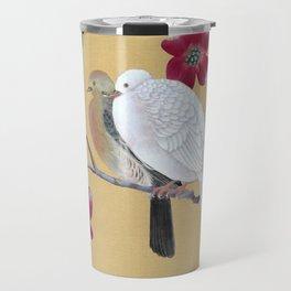 Doves in Red Dogwood Tree Travel Mug