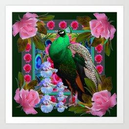 PINK ROSES & GREEN PEACOCK GARDEN FLORAL ART Art Print
