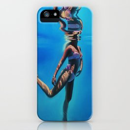 Dancing in the blue abyss iPhone Case