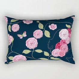 Pink Damask Roses Rectangular Pillow