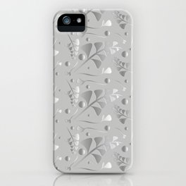 Vector pattern from silver black plants and grass blades on a gray background in vintage style. For iPhone Case