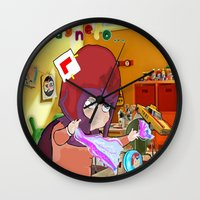"magneto Wall Clocks featuring "" Mini Magneto "" by Funki monkey animation studio"