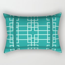 Midcentury Modern Geometric Turquoise Rectangular Pillow
