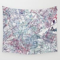 mexico Wall Tapestries featuring Mexico map by MapMapMaps.Watercolors
