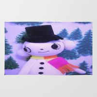 snowman Area & Throw Rugs featuring Snowman  by Vintage  Cuteness
