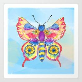 Sunflower Butterfly Art Print