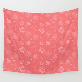 Coral Pink Flora Pattern 2 Wall Tapestry