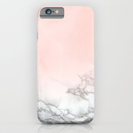 Blush Pink on White and Gray Marble III iPhone Case