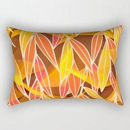 Bright Golden Orange Leaves Floral Print Rectangular Pillow
