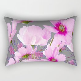 RADIANT PINK-FUCHSIA COSMO GREY ART Rectangular Pillow