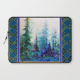 WESTERN  BLUE FOREST WATER COLOR TEAL PATTERN ART Laptop Sleeve