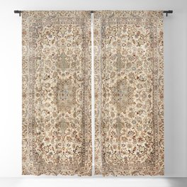 Isfahan Central Persia Old Century Authentic Colorful Dusty Blue Tan Distressed Vintage Patterns Blackout Curtain