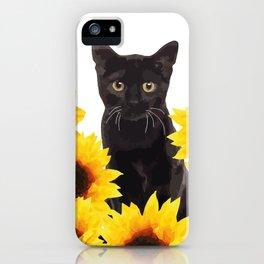 Sunflower Black Cat iPhone Case
