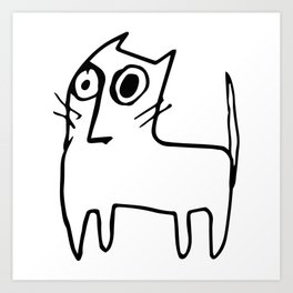A mangy, miffed and slightly damaged cat Art Print