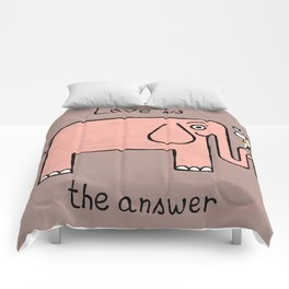 """""""Love Is The Answer"""" / Pink Peace Elephant Holding A Flower Comforters"""