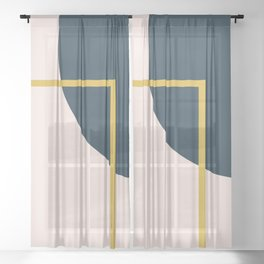 Fusion 2 Minimalist Geometric Abstract in Mustard Yellow, Navy Blue, and Blush Pink Sheer Curtain