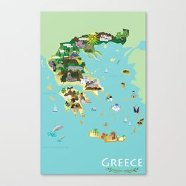 Illustrated Graphic Map of Greece Canvas Print