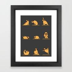 Pug Yoga // Black Framed Art Print