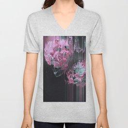 Glitch Pink Hydrangea Unisex V-Neck
