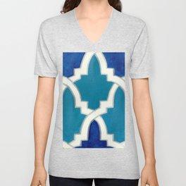 Moroccan Motif Blue Palette Unisex V-Neck