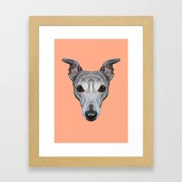 Whippet // Peach Framed Art Print