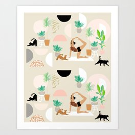 Mid Century Modern Yoga pattern with cats and plants Art Print