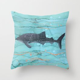 Whale Shark Swimming in the Emerald Ocean Throw Pillow