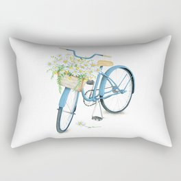 Vintage Blue Bicycle with Camomile Flowers Rectangular Pillow