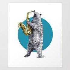 saxophone bear Art Print