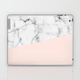 Real White marble Half Salmon Pink Laptop & iPad Skin