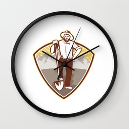 Gold Digger Miner Prospector Shield Wall Clock