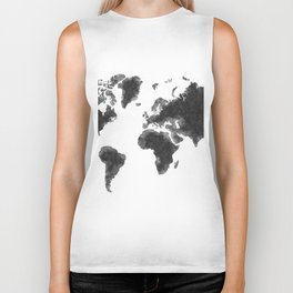 World Map Black Sketch, Map Of The World, Wall Art Poster, Wall Decal, Earth Atlas, Geography Map Biker Tank